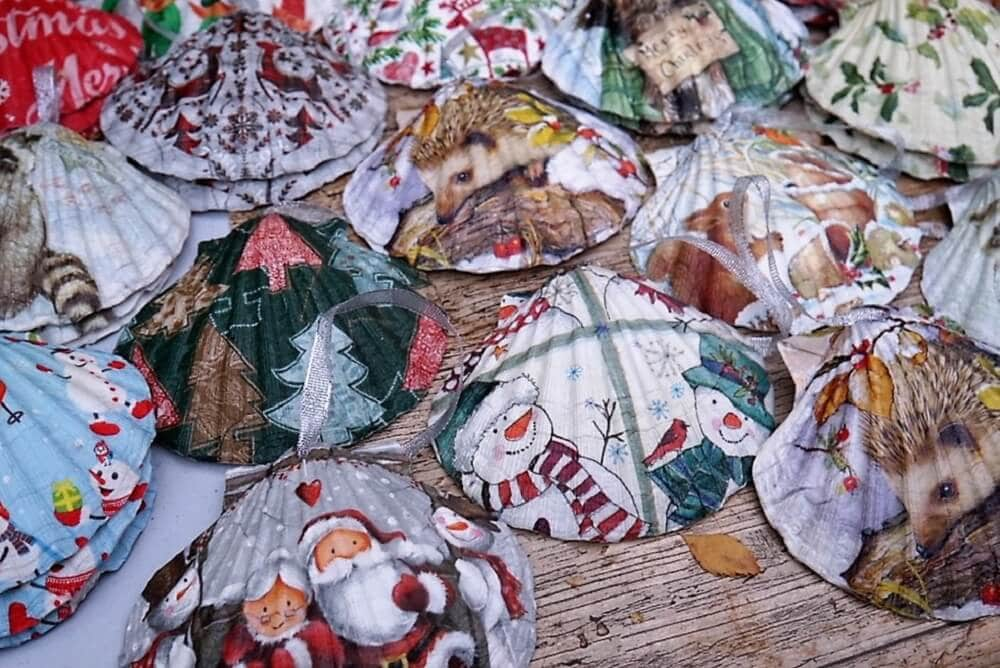 Painted shells Christmas Ornaments from the Bury Christmas Fayre - Two Traveling Texans
