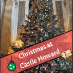 "castle howard christmas tree with text overlay ""Christmas at Castle Howard"""