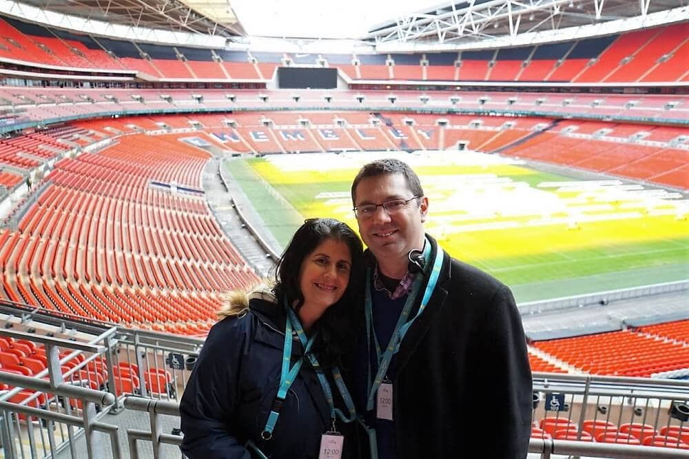 "Anisa and Russell in the stands of Wembley Stadium. - ""Wembley Stadium Tour Review"" - Two Traveling Texans"