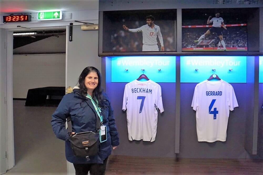 Anisa in the Dressing Room that plays tribute to some of the top stars that have played at Wembley.