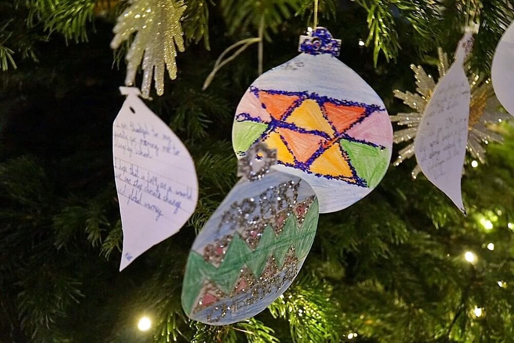 paper ornaments with children's wishes - Castle Howard at Christmas - Two Traveling Texans