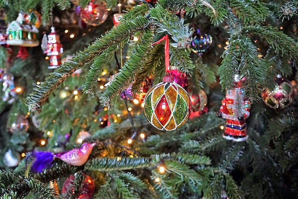 closeup of ornaments on the Christmas Tree