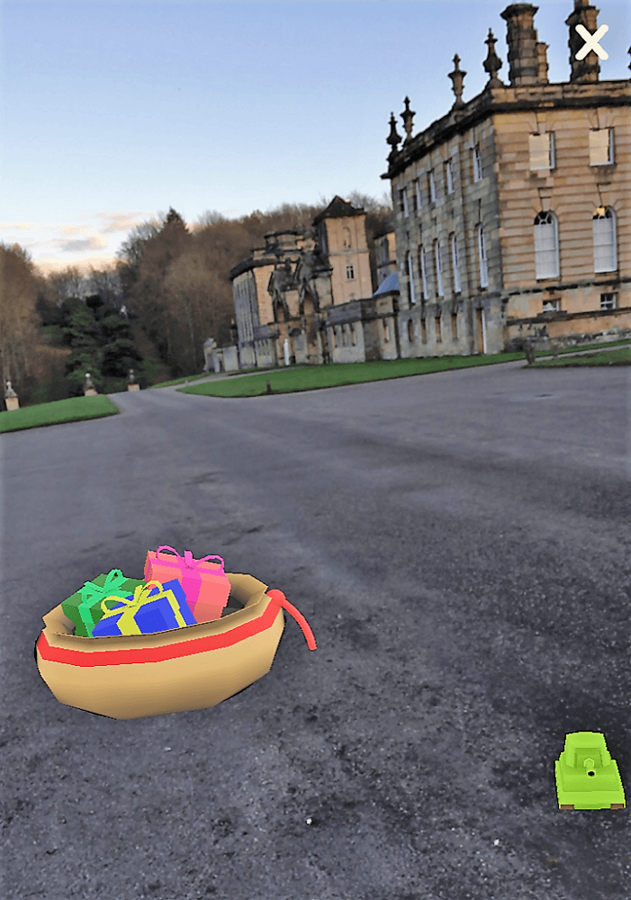 A screen shot of the augmented reality at Castle Howard - Two Traveling Texans