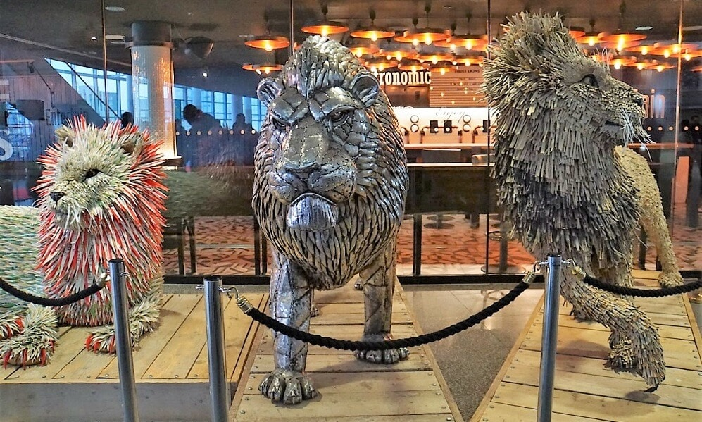 Sculptures of the Three Lions at Wembley Stadium- Two Traveling Texans