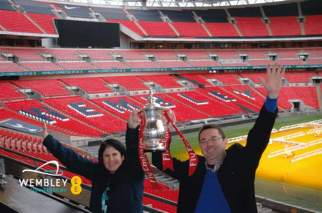 Our photo with the replica of the FA Cup. - Two Traveling Texans