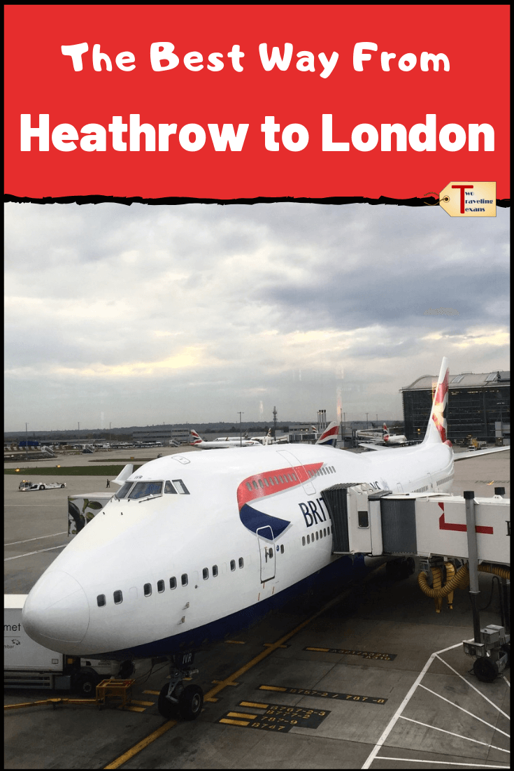 jumbo jet airplane at the gate at Heathrow Airport with text overlay