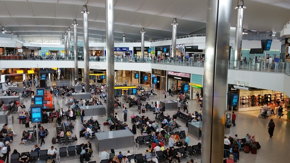 Inside heathrow airport terminal