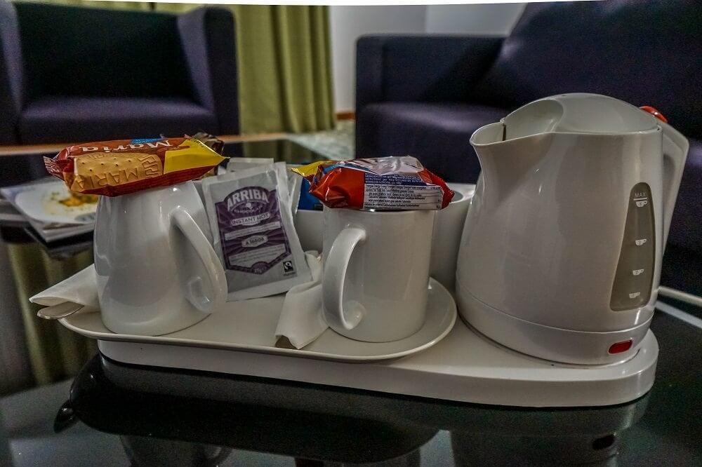 supplies to make tea, coffee, or hot chocolate in your room at the holiday inn Algarve