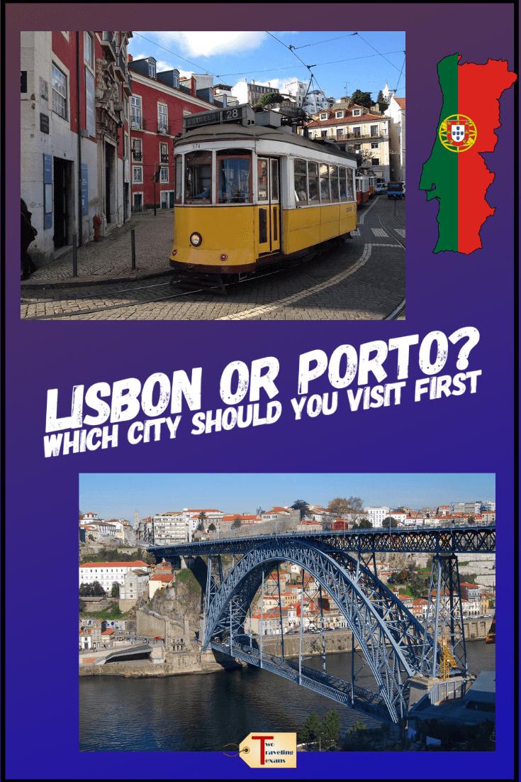 picture of tram in lisbon and bridge in porto with text overlay
