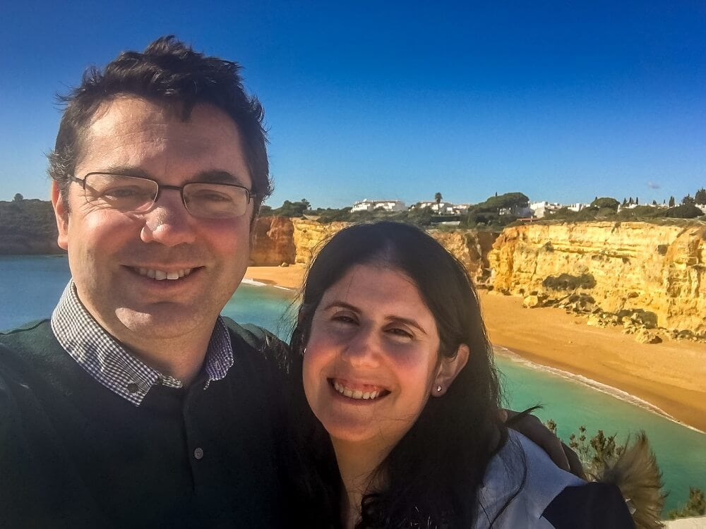selfie with the Algarve coast in the background