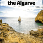 "algarve coast with text overlay ""Seven hanging valleys walk in the Algarve, Portugal Travel"""