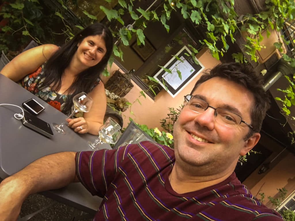 Selfie wine tasting in the garden at Maison Martin Jund.
