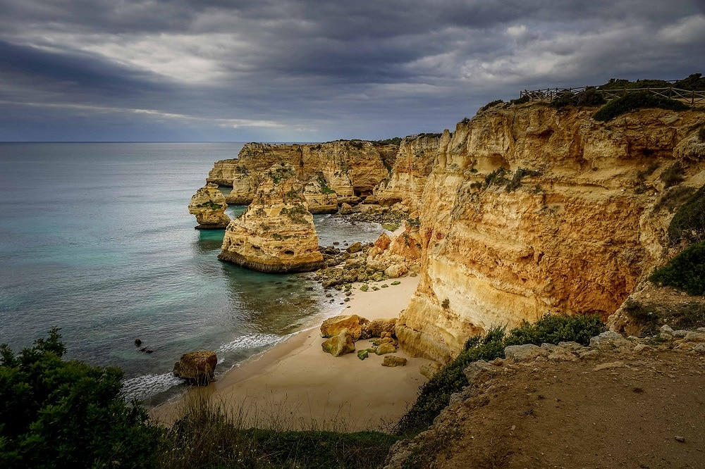 views of Marinha Beach in the Algarve Portugal