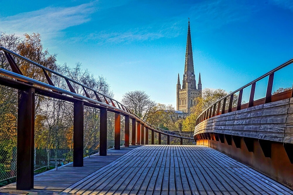 View of the Norwich Cathedral from the Jarrold Bridge