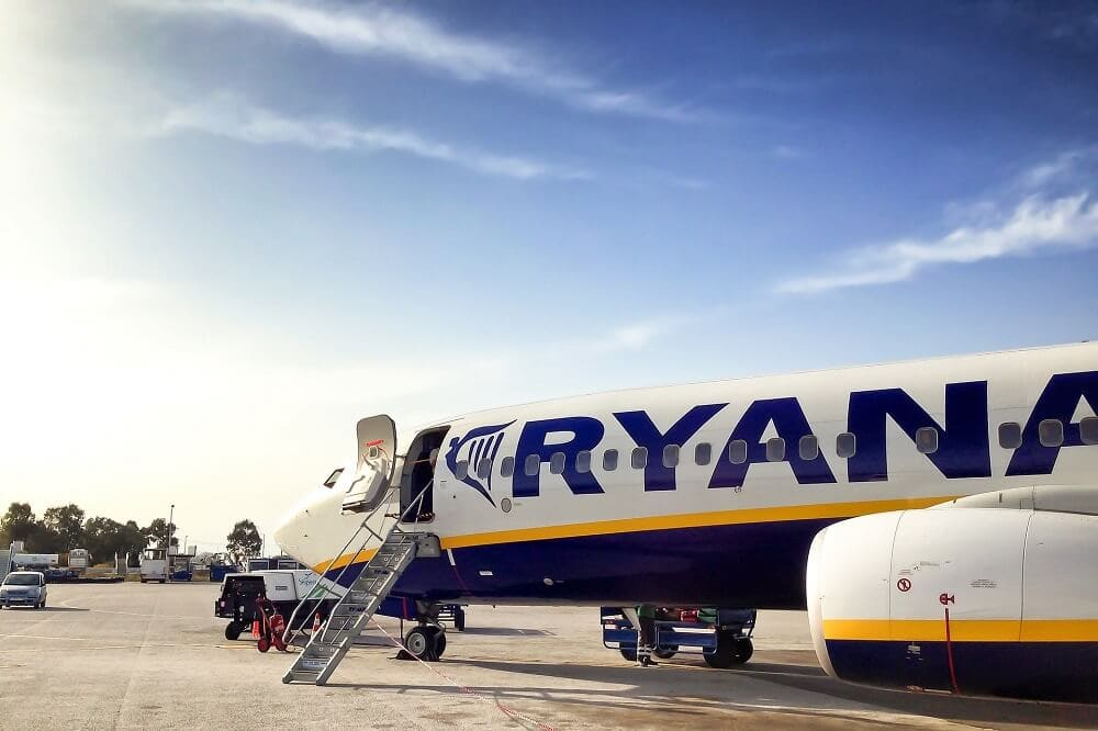 You board Ryanair flights from the tarmac, they usually also have stairs at the back of the plane too.
