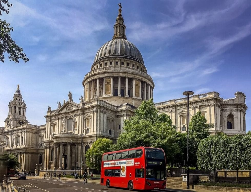 St. Pauls and classic red double decker bus