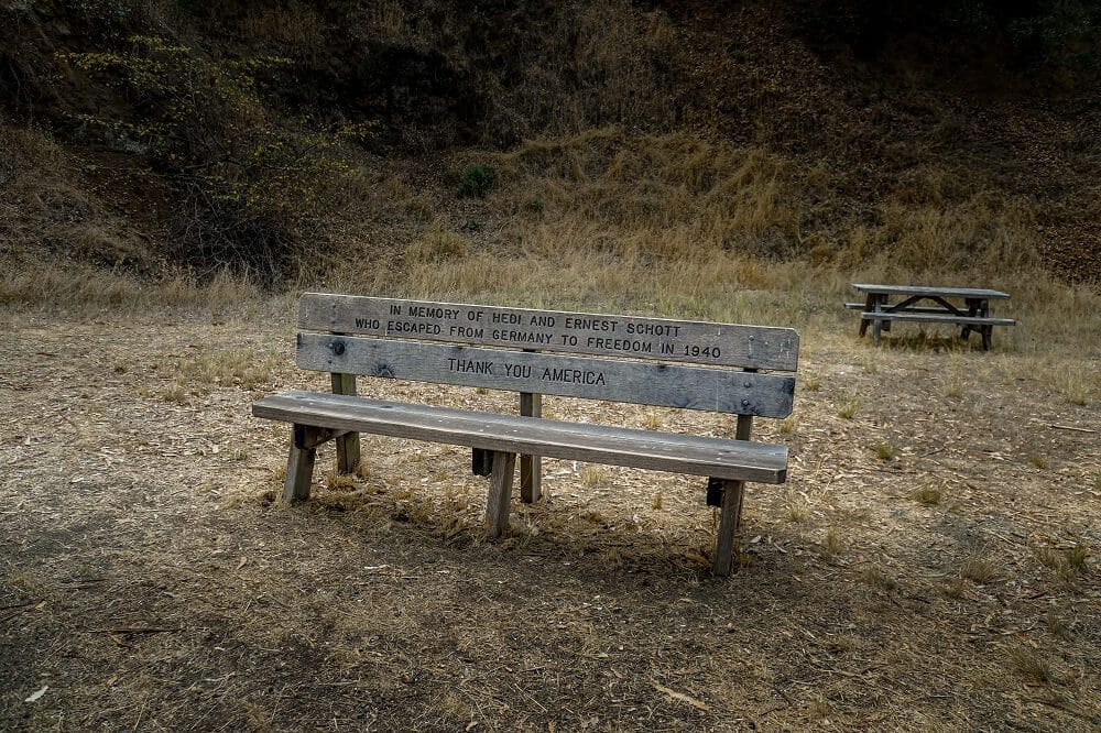 memorial bench on Angel Island