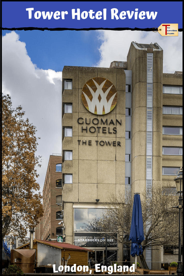 Guoman tower hotel in London with text overlay