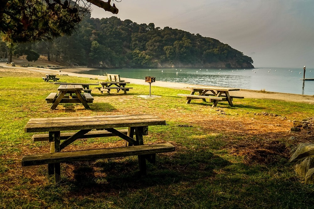 picnic tables on Angel Island