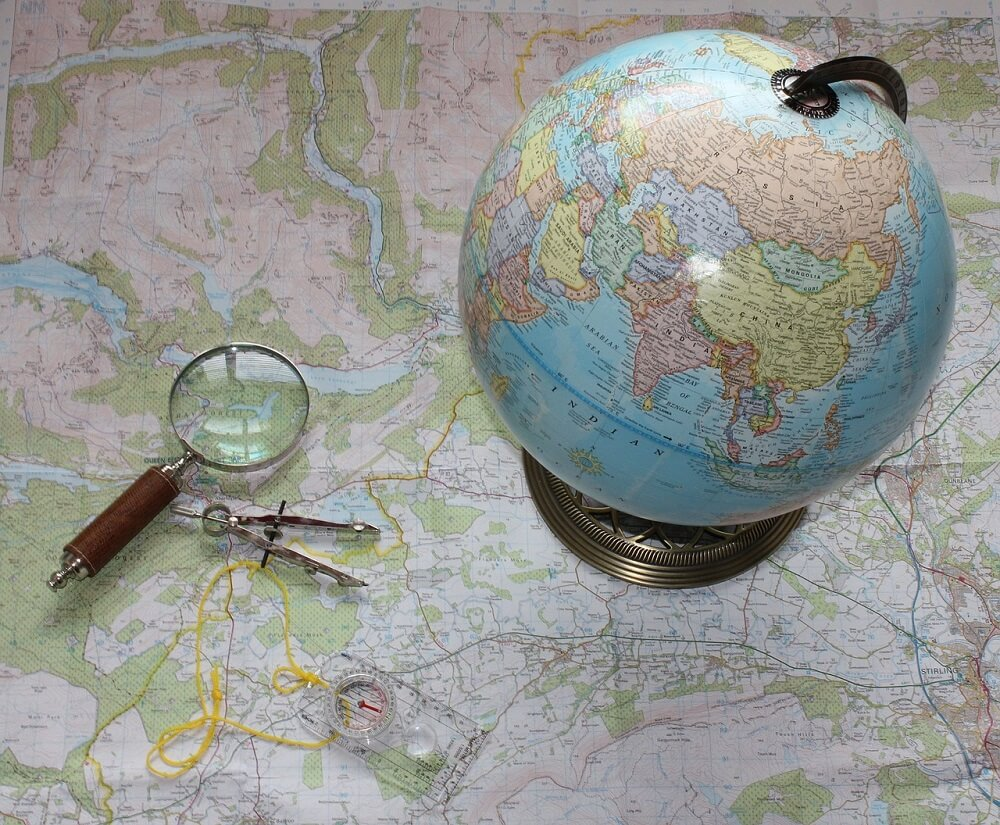 map and globe