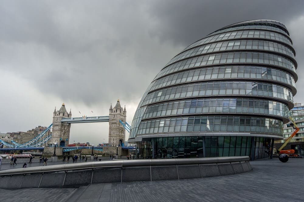City Hall and Tower Bridge in London