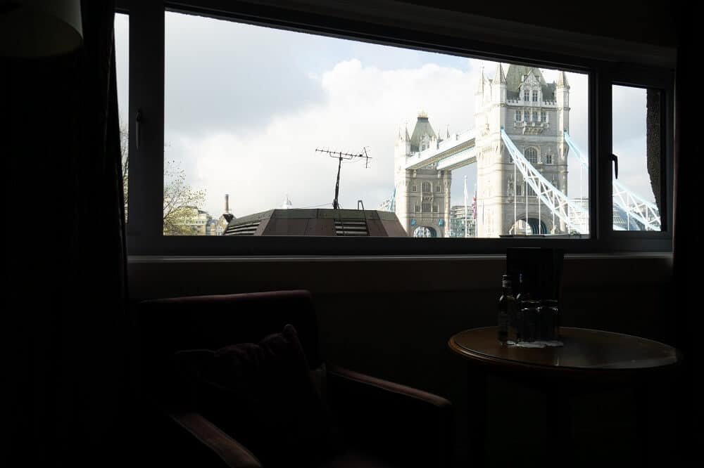 Another perspective of our huge window with a view of Tower Bridge.