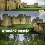 "three views of alnwick castle and gardens with text overlay ""Alnwick Castle, Northumberland, England"""