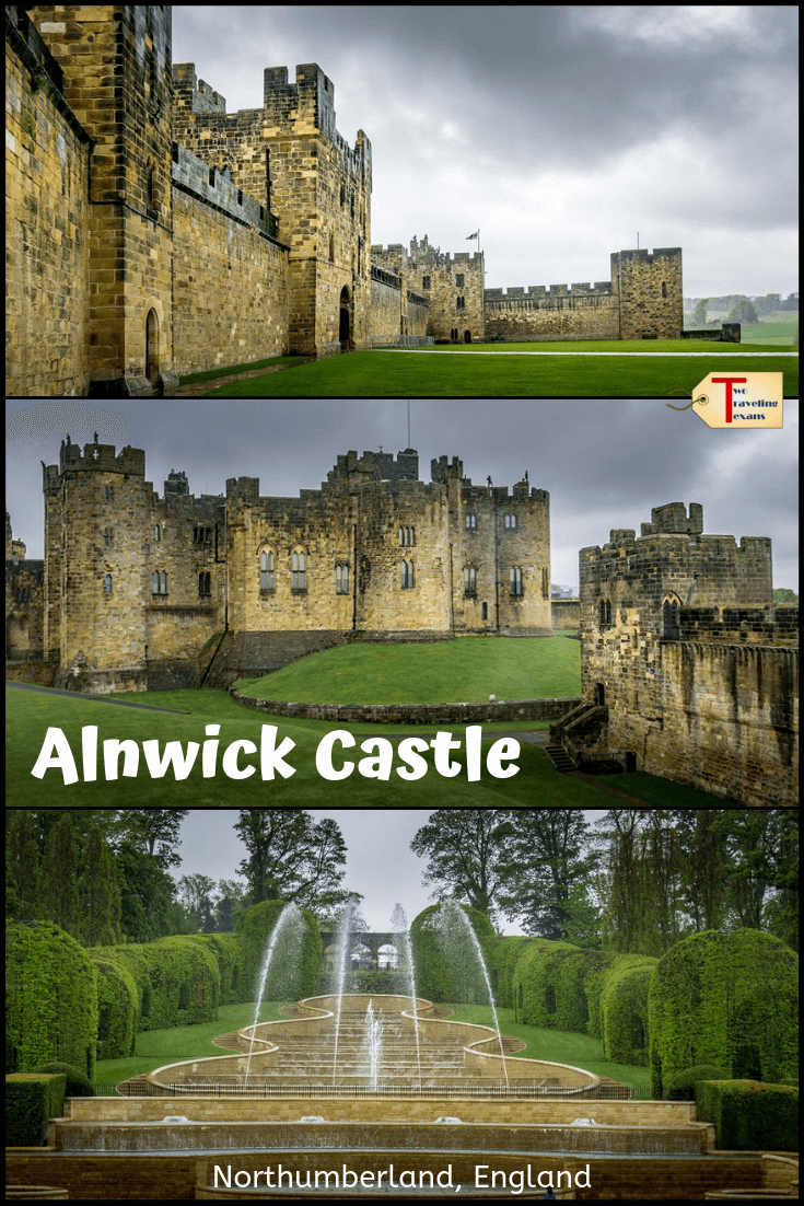 three views of alnwick castle and gardens with text overlay