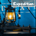 """lantern with text overlay """"Gingerline's Grand Expedition"""""""
