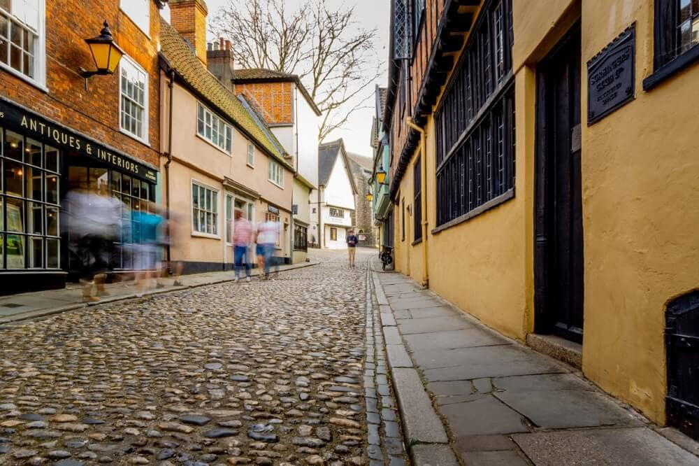 Elm Hill in Norwich, Norfolk