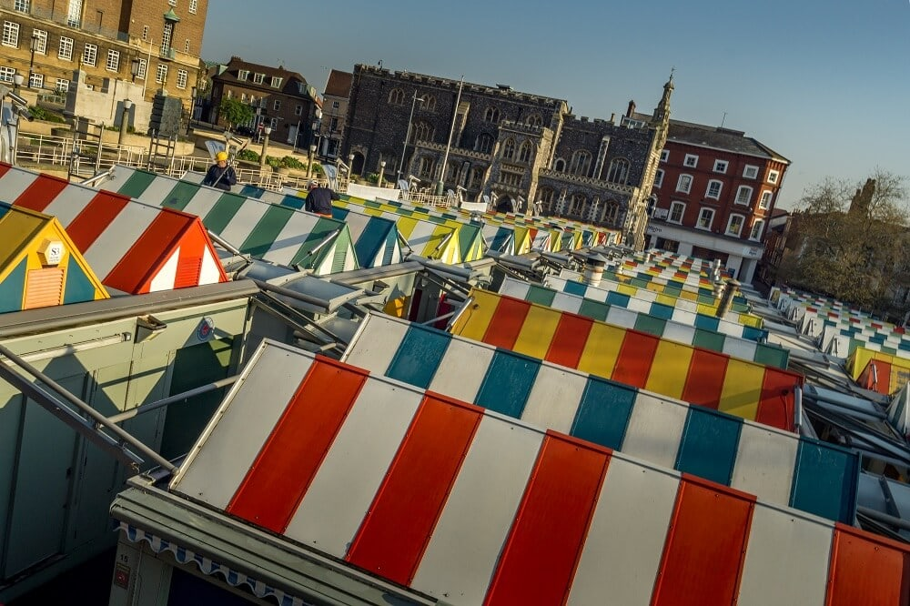 colorful tents at the Norwich Market