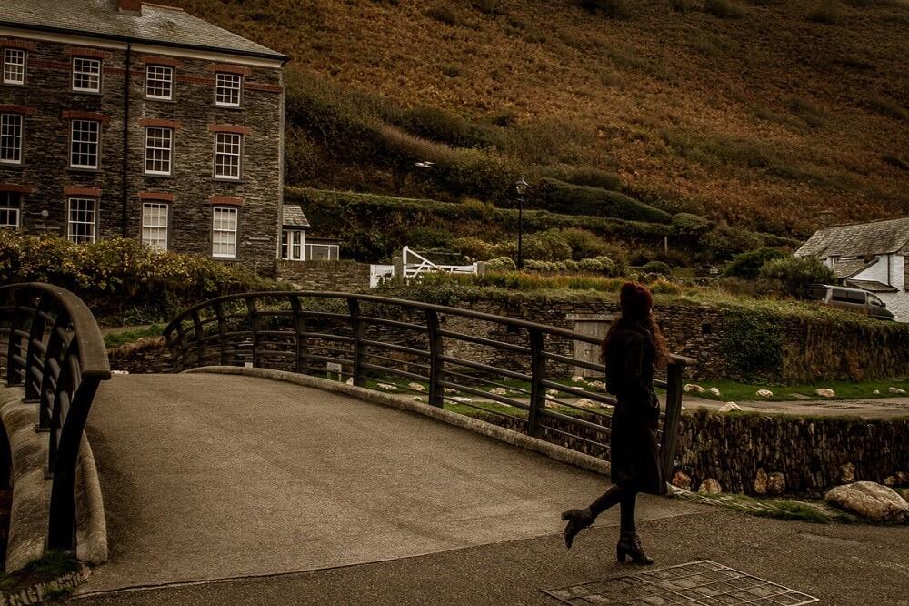Georgie bundled up and exploring Cornwall