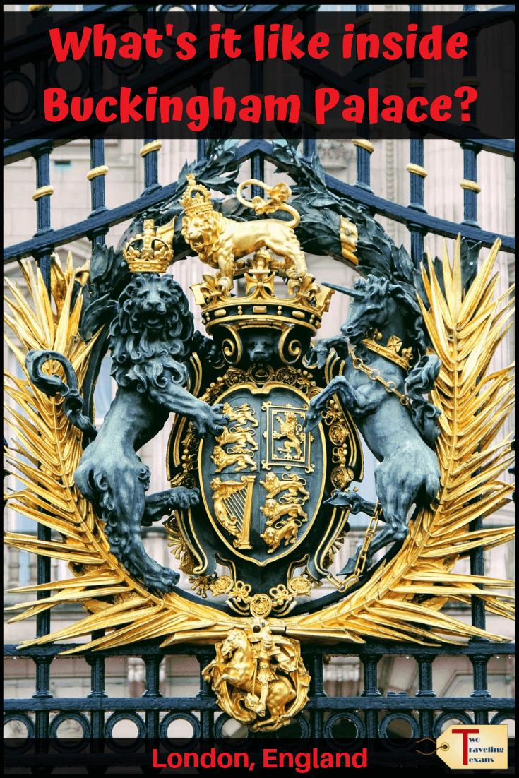 gates of Buckingham Palace with text overlay