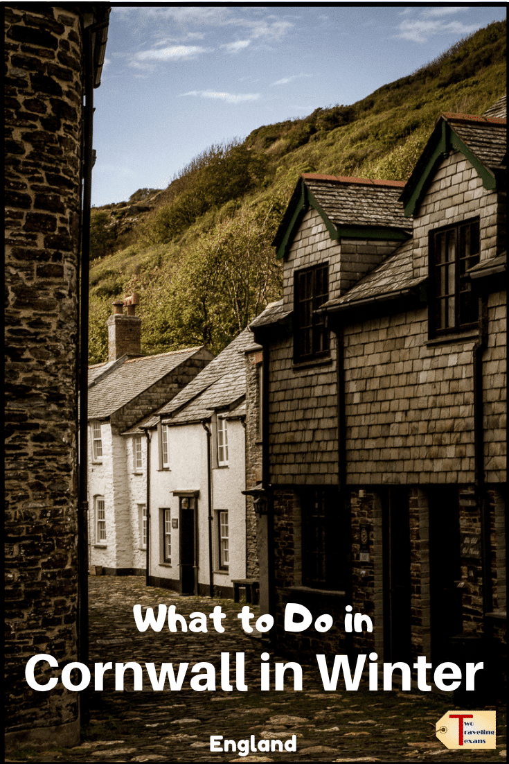 village int cornwall england with text overlay