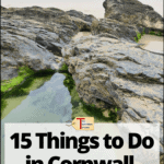 """cornwall coast with text overlay """"England Travel - 15 Things to Do in Cornwall in the Winter"""""""