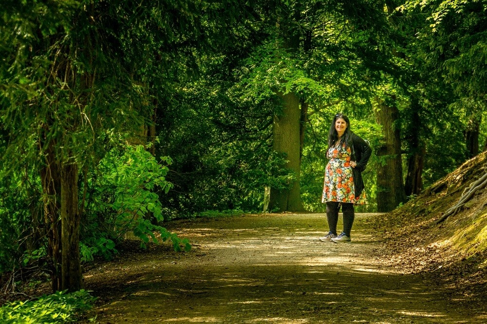 Anisa exploring the paths around Studley Royal