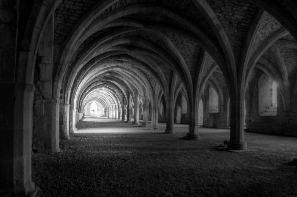 the arches of the cellarium at Fountains Abbey