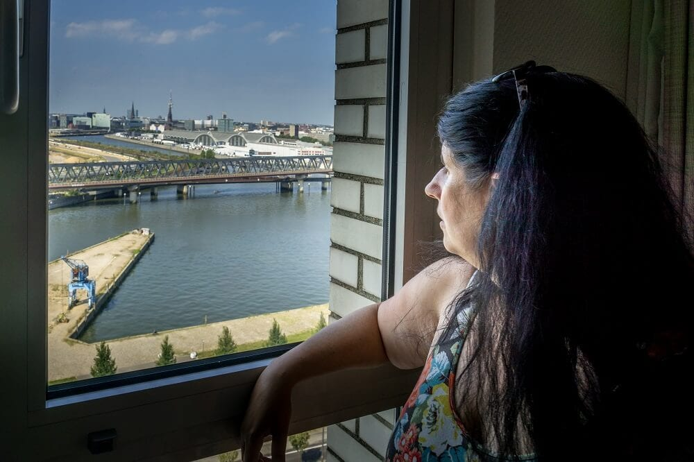 Anisa admiring the view of Hamburg