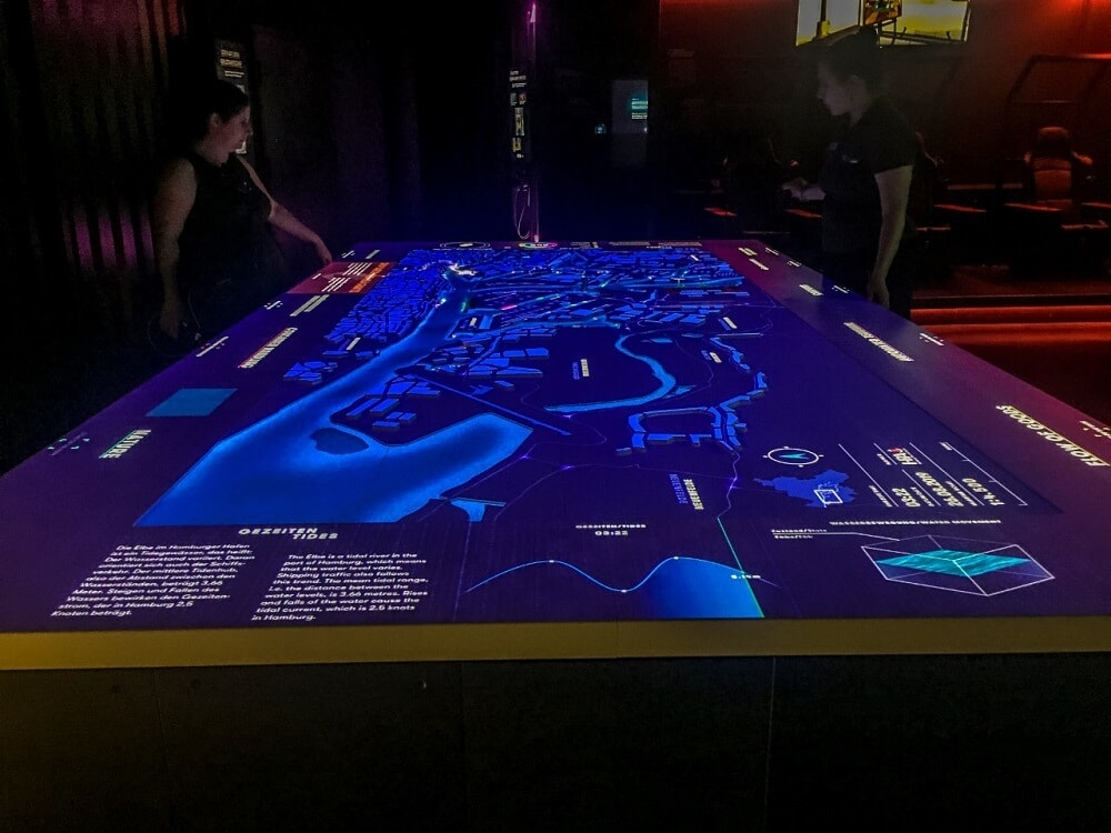High-tech table at the Discovery Dock is actually a digital model of the Hamburg Port