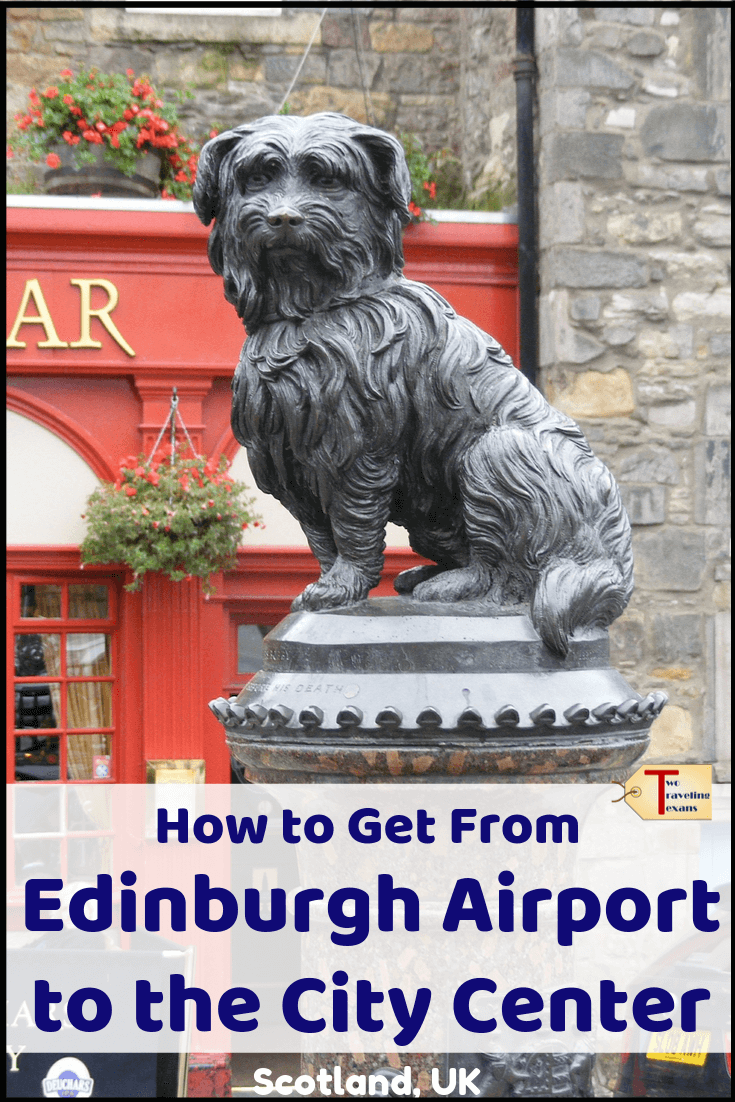 dog statue in edinburgh with text overlay