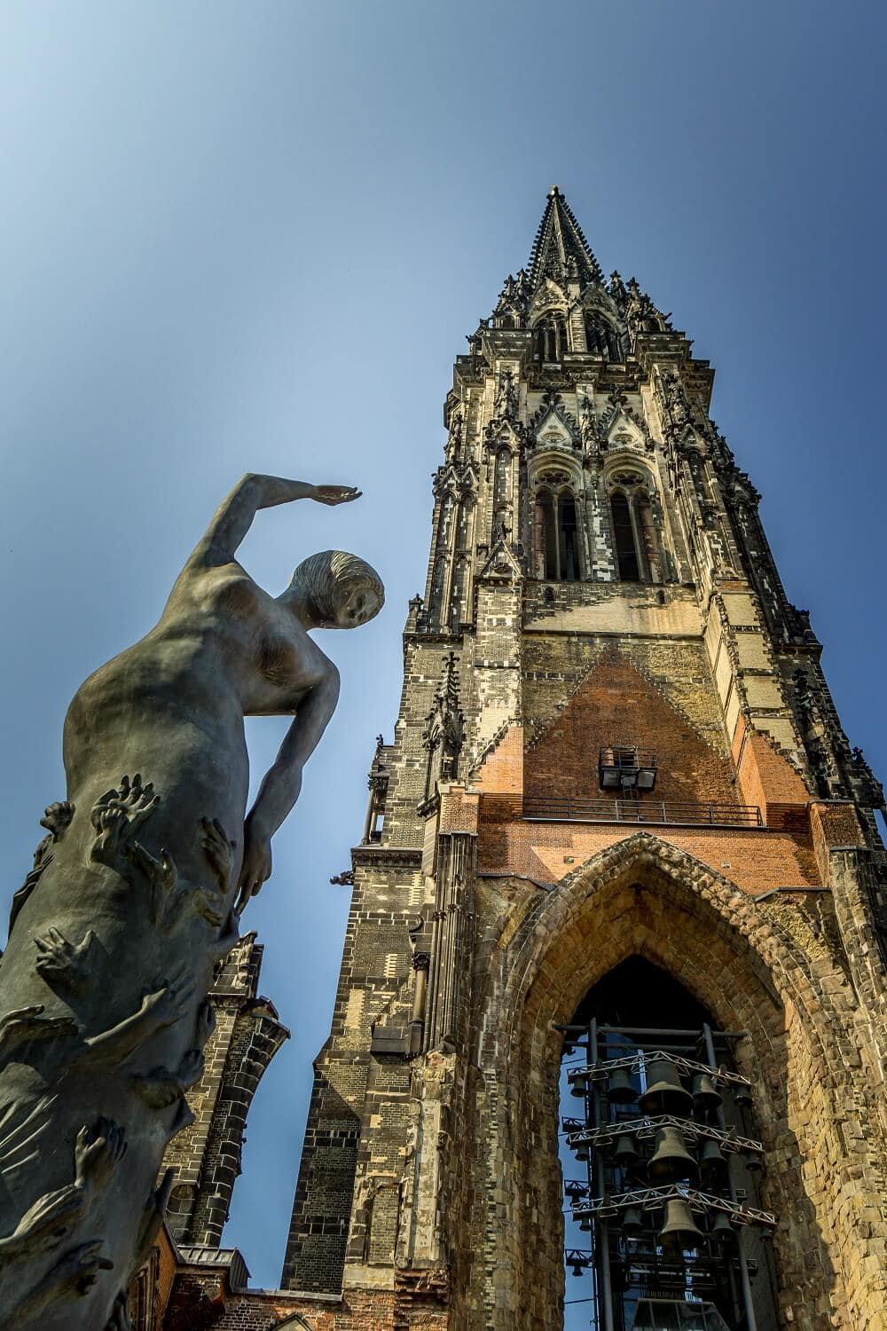 Sculpture below the tower of St. Nicholas's Church in Hamburg