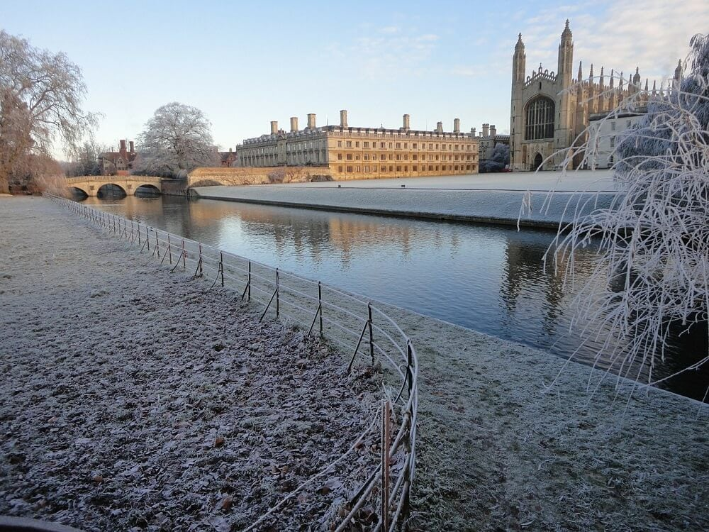 Cambridge in the winter when it snowed