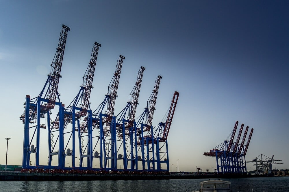 Cranes in the Hamburg Port