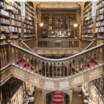 """staircase in porto bookshop with text overlay """"Harry Potter & Porto Portugal"""""""