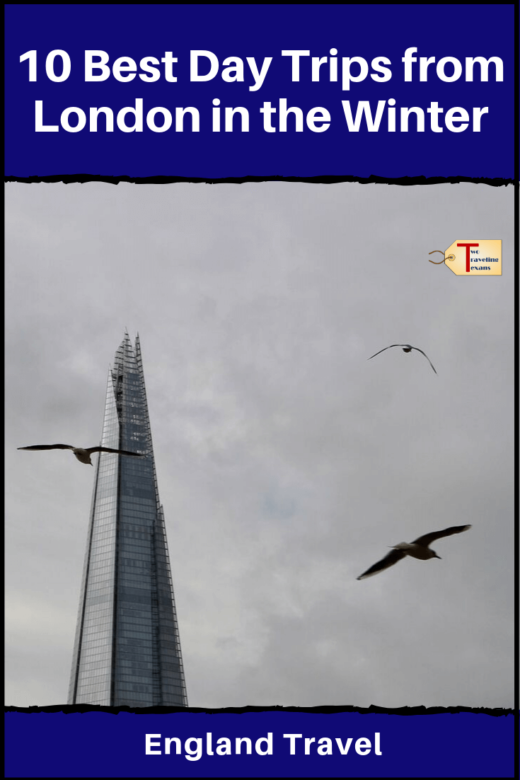 the Shard building in london in the winter with text overlay
