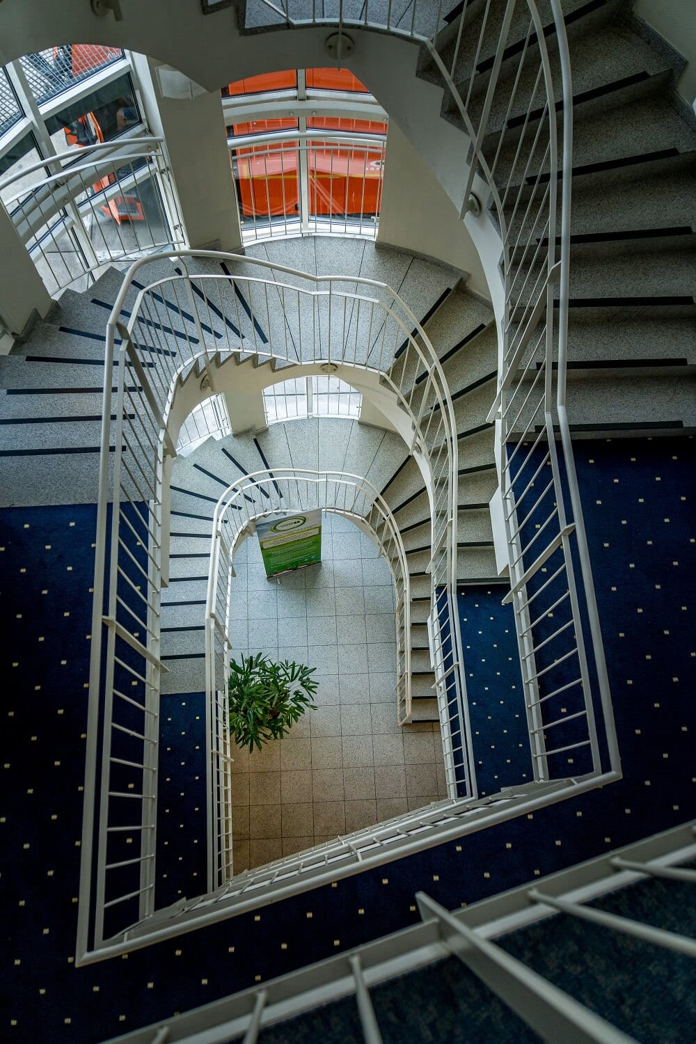 looking down the staircase at the Holiday Inn Hamburg