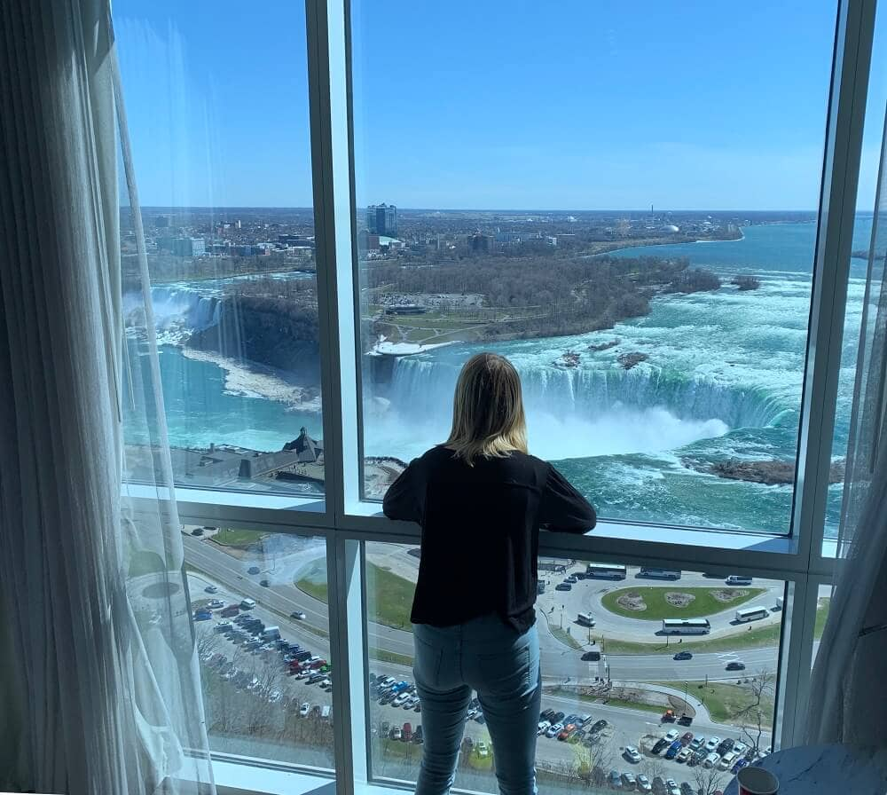 view from a room at the Marriott on the Falls hotel in Niagara Falls Canada