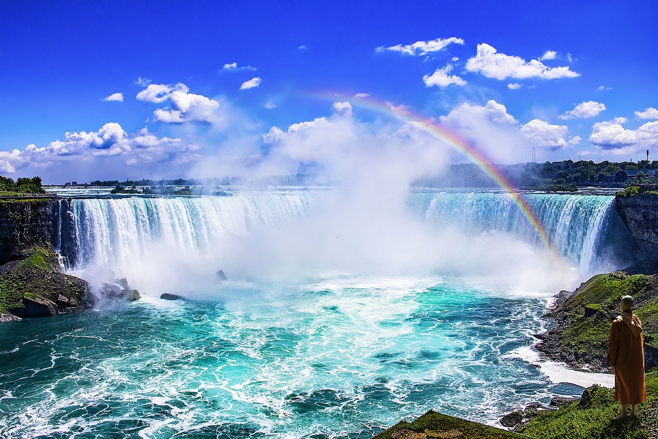 view of Niagara Falls (Canadian Side) with rainbow