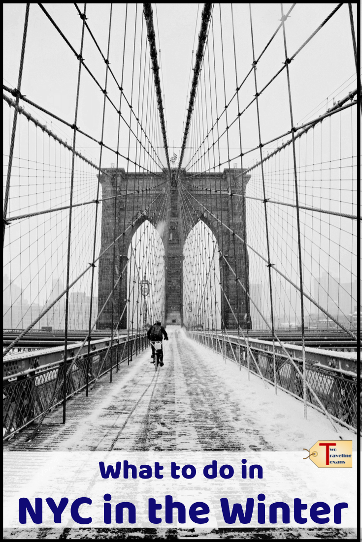 brooklyn bridge covered in snow with text overlay