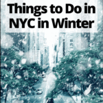 """snowy new york city street with text overlay """"the 17 best things to do in nyc in winter"""""""